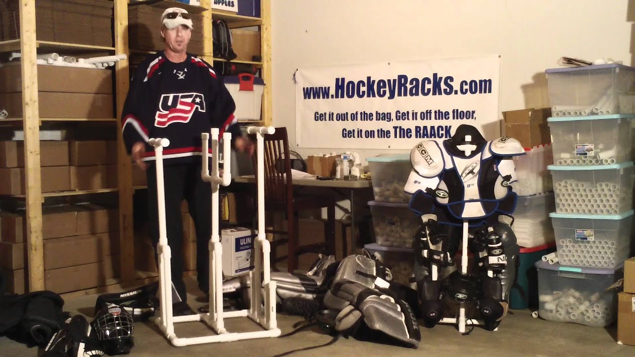 Goalie Hockey Rack Gr1 Patent Pending Sales Hockeyracks Com Youtube