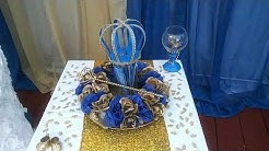 DIY ROYAL BLUE AND GOLD BABY SHOWER DECORATIONS.