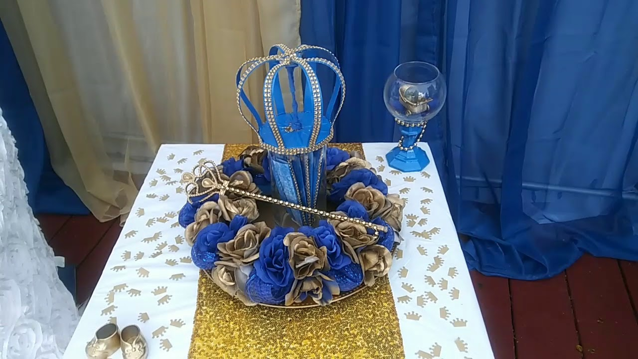 Diy Royal Blue And Gold Baby Shower Decorations Youtube
