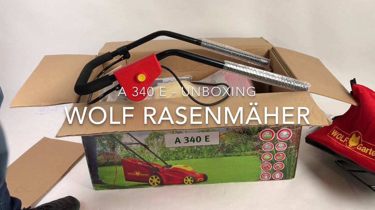Wolf Elektro Rasenmaher A 340 E Unboxing Schnittbreite 34 Cm Youtube