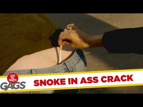 Smoke in butt ass crack prank!