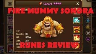 summoners war fire mummy sonora review fire mummy runes skills review