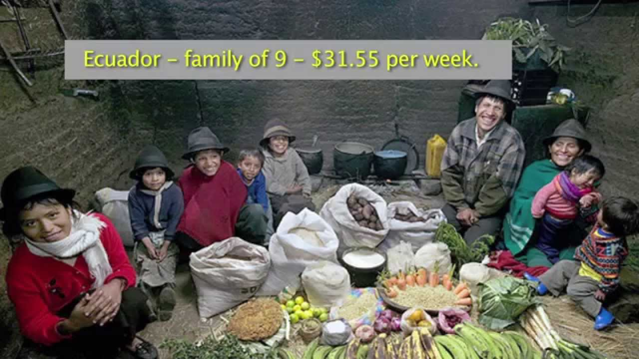 Weekly diet of families in different countries