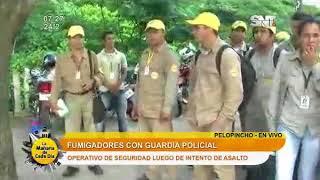 Fumigadores con resguardo policial