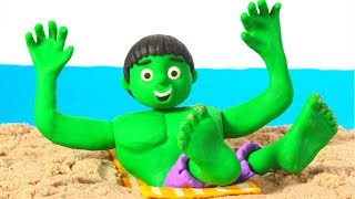 HULK & SUPERHERO BABIES HAVE FUN AT THE BEACH ❤ Spiderman, Hulk & Frozen Play Doh Cartoons For Kids thumbnail