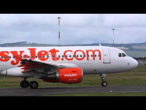 EasyJet Airbus 319 taking off from Inverness Airport...Watch HD