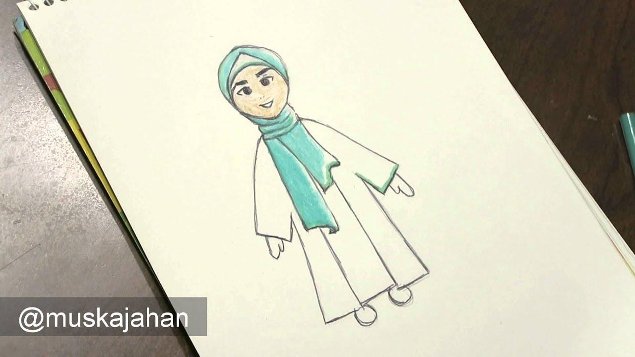 Watch Me Draw A Chibi Hijabi Anime Hijabi Cartoon Girl Youtube