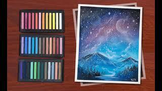 How to draw galaxy pictures / pastels / Vẽ tranh phong cảnh bằng phấn tiên