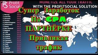 Заработок на CPA партнёрке На привлечением трафика ProfitSocial