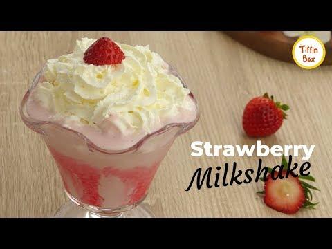 Yummy Strawberry Milkshake Recipe For Kids   How To Make Healthy Strawberry Milkshake By Tiffin Box