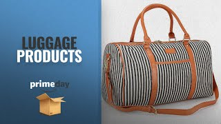 Save Big On Prime Day Luggage Deals 2018: Large Women Weekender Bag,AIZBO Canvas Overnight Weekend