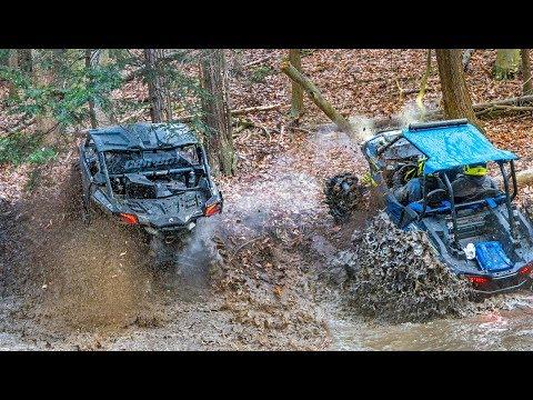 Crazy Creek Bank Climbs in the Wet, Cold, Winter Mud! RZR vs Maverick vs Wildcat - UTV Trail Riding