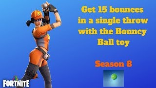 Fortnite - Get 15 bounces in a single throw with the Bouncy Ball toy - Season 8 Week 5 Challenges