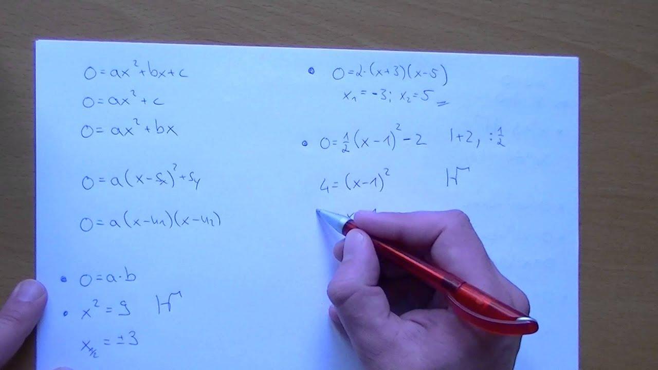 Lösungsmenge von quadratischen Gleichungen - YouTube