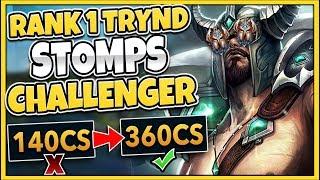 #1 TRYNDAMERE WORLD MURDERS CHALLENGER GAREN (200+ CS LEAD) INSANE ENDING! - League of Legends