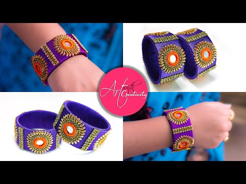 Make an awesome new bangle from old glass bangles   OLD BANGLE REUSE   New look   Silk thread bangle