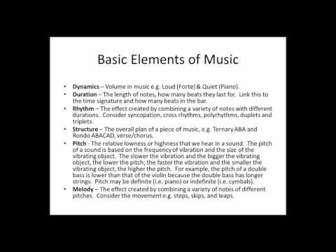 Elements and Principles of Music