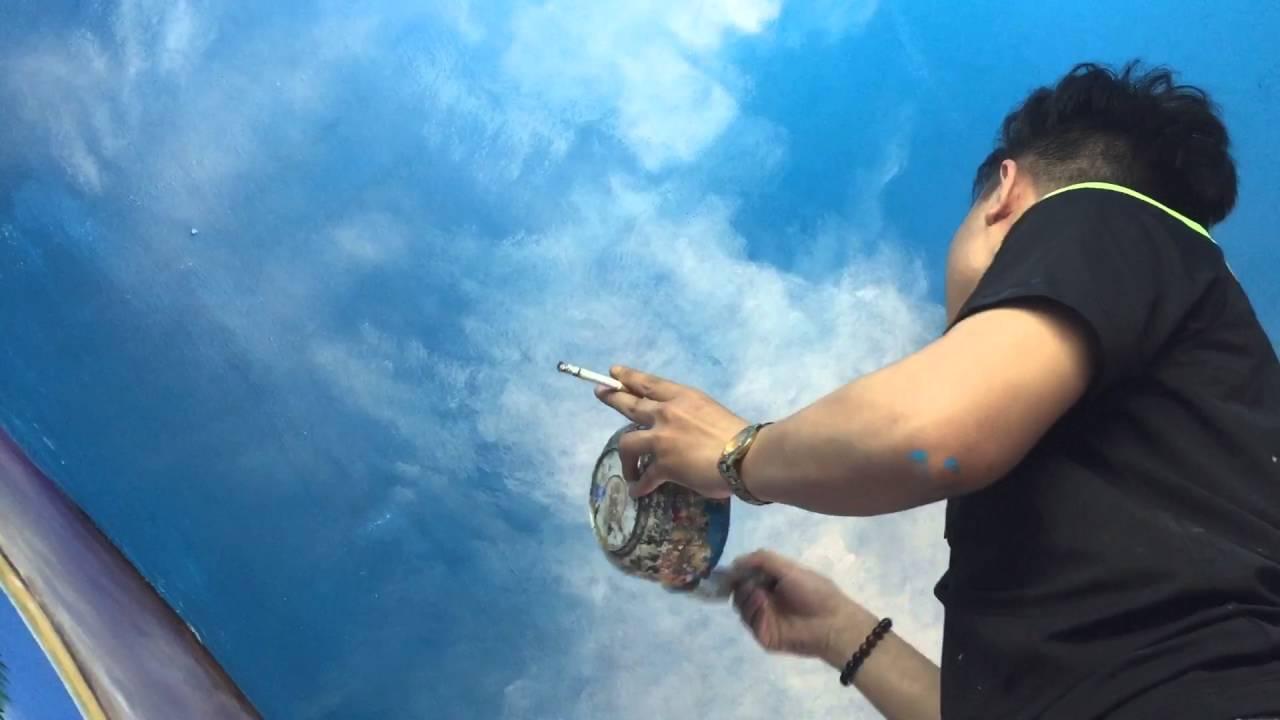 cách vẽ trần mây 3d tươi sáng bằng bút – mural wal art cloud – liên hệ 0908766656 – Phạm Thái