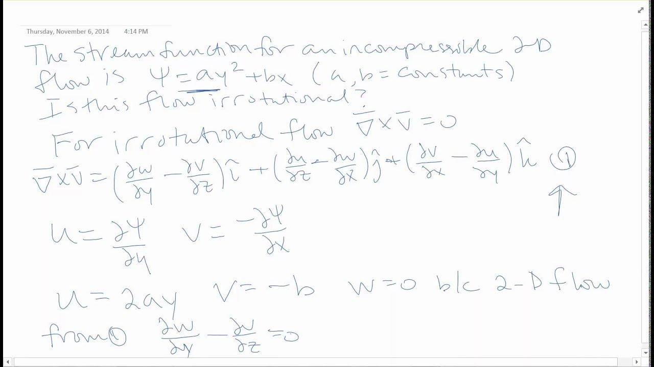 fluid mechanics problem 3 homework 11 stream function and