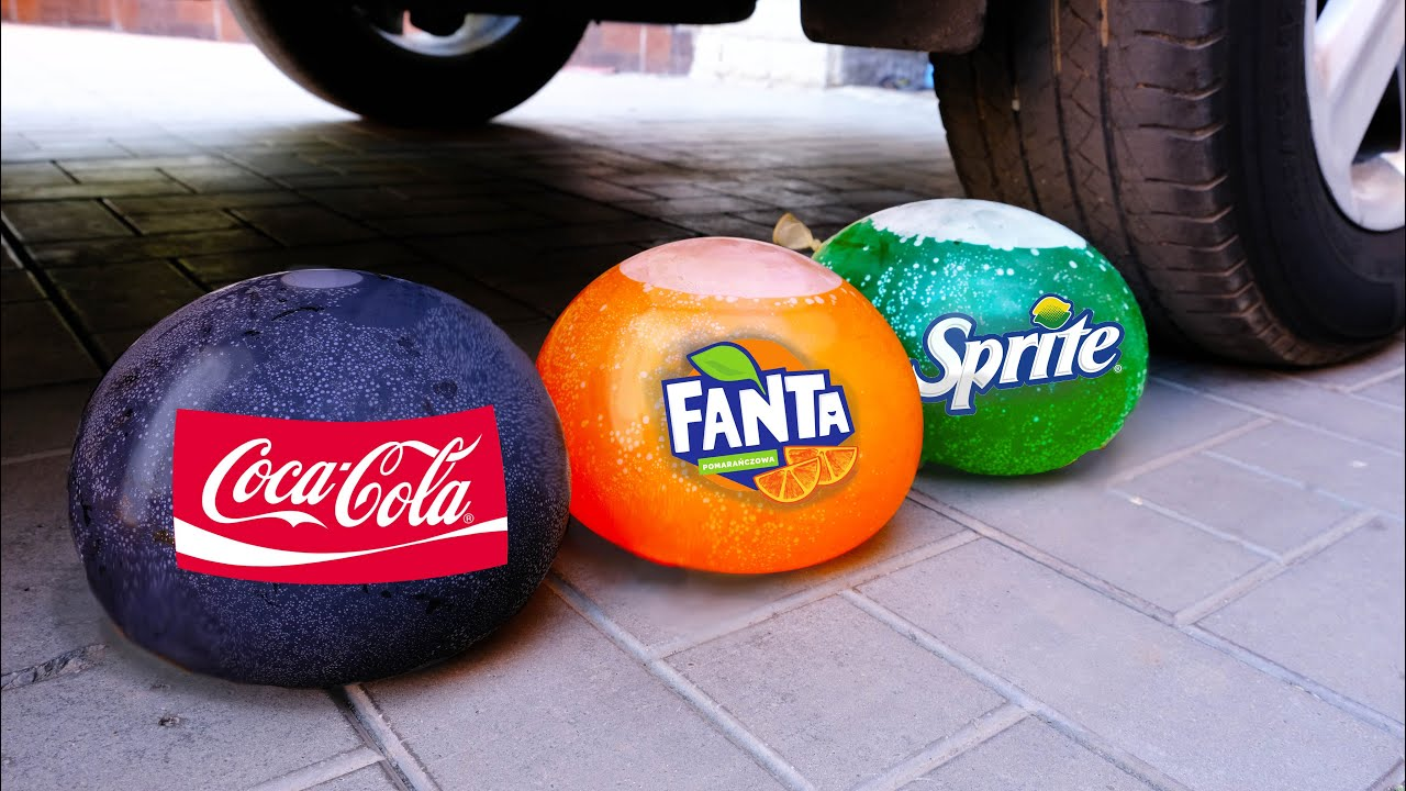 Experiment Car vs Coca Cola, Fanta, Sprite Balloons   Crushing Crunchy & Soft Things by Car