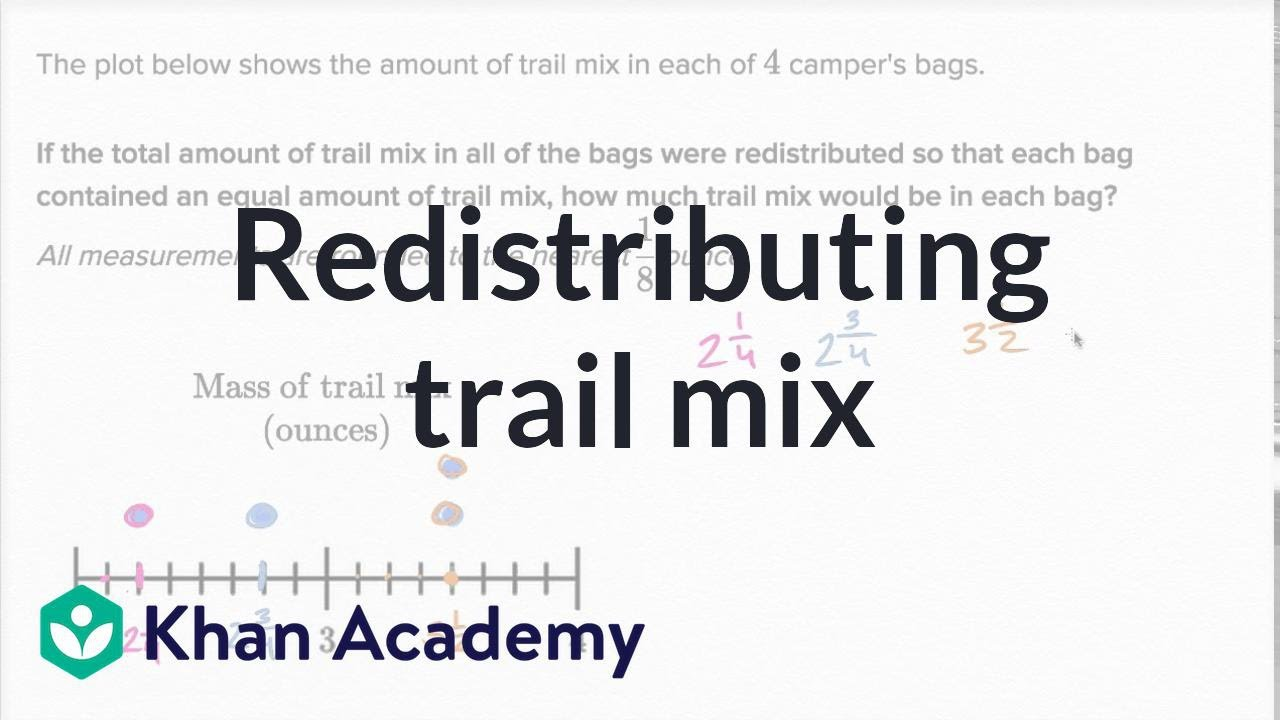 Redistributing trail mix   Measurement and data   5th grade   Khan Academy  - YouTube [ 720 x 1280 Pixel ]