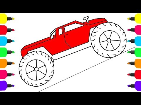 Learn Colors For Kids with Truck and Cars Coloring Pages Monster truck Coloring For Kids