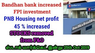 Bandhan bank increased FPI investment| STOCKS removed from F&O| Tamil Share | Intraday Tamil Tips