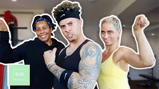 AUSTIN MCBROOM TRIES TO KEEP UP DURING HOME WORKOUT!!!