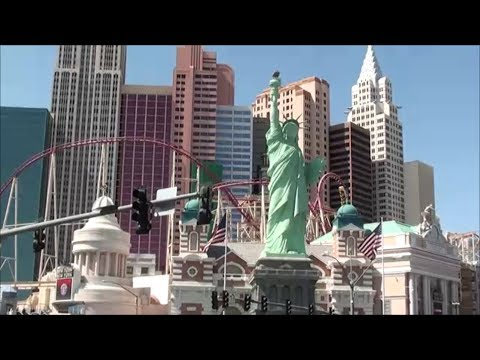 Las Vegas Roller Coaster In Front Of Statue Of Liberty New
