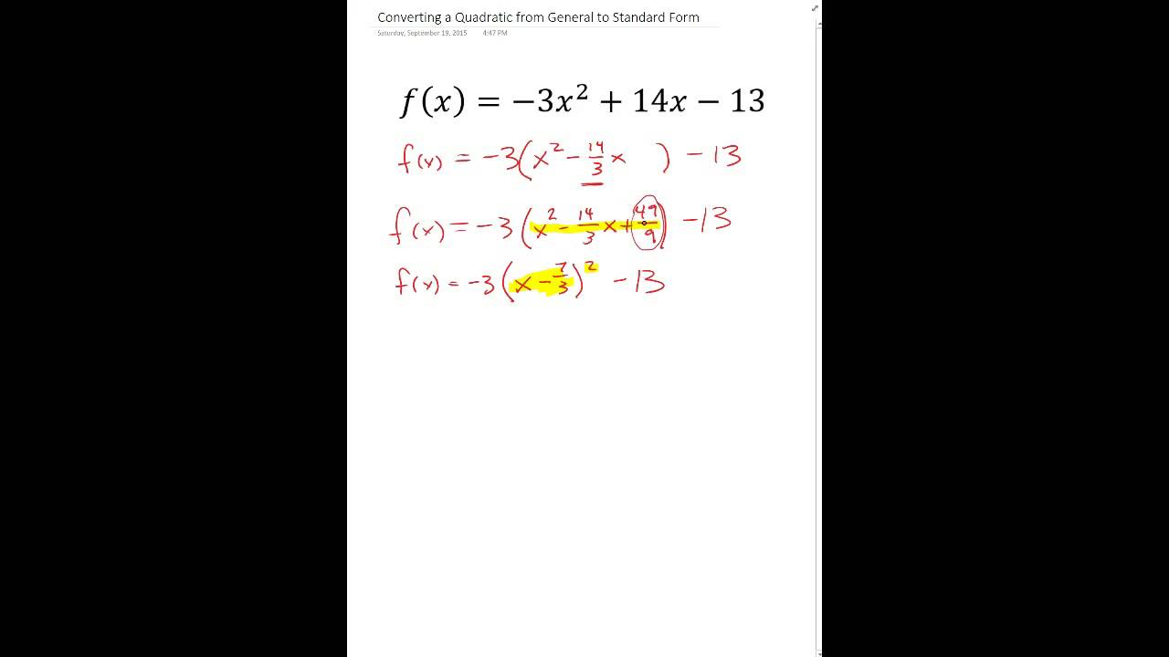 Converting a quadratic from general to standard form youtube falaconquin