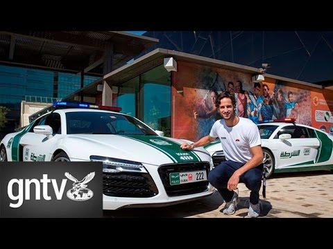 Spanish tennis player Feliciano Lopez takes a spin in Dubai Police Car