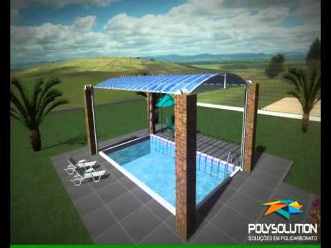 Cobertura de piscina em policarbonato modelo ii sobe e for Modelos de piscinas armables