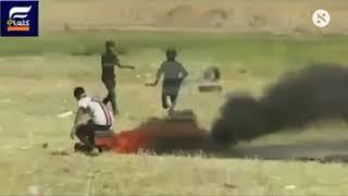 תיעוד הירי במפגין פלסטיני סמוך לחאן יונס