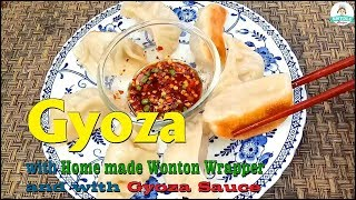 Gyoza with Wrapper and with Gyoza Sauce