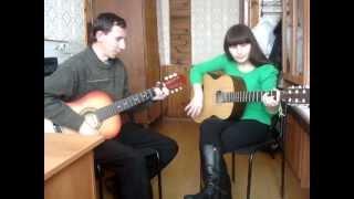 Я и мой учитель по гитаре играем песню гр.Лицей - Осень)