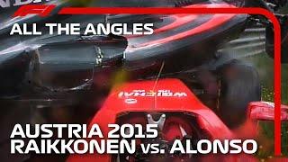 Alonso Crashes On Top of Raikkonen: All The Angles | 2015 Austrian Grand Prix