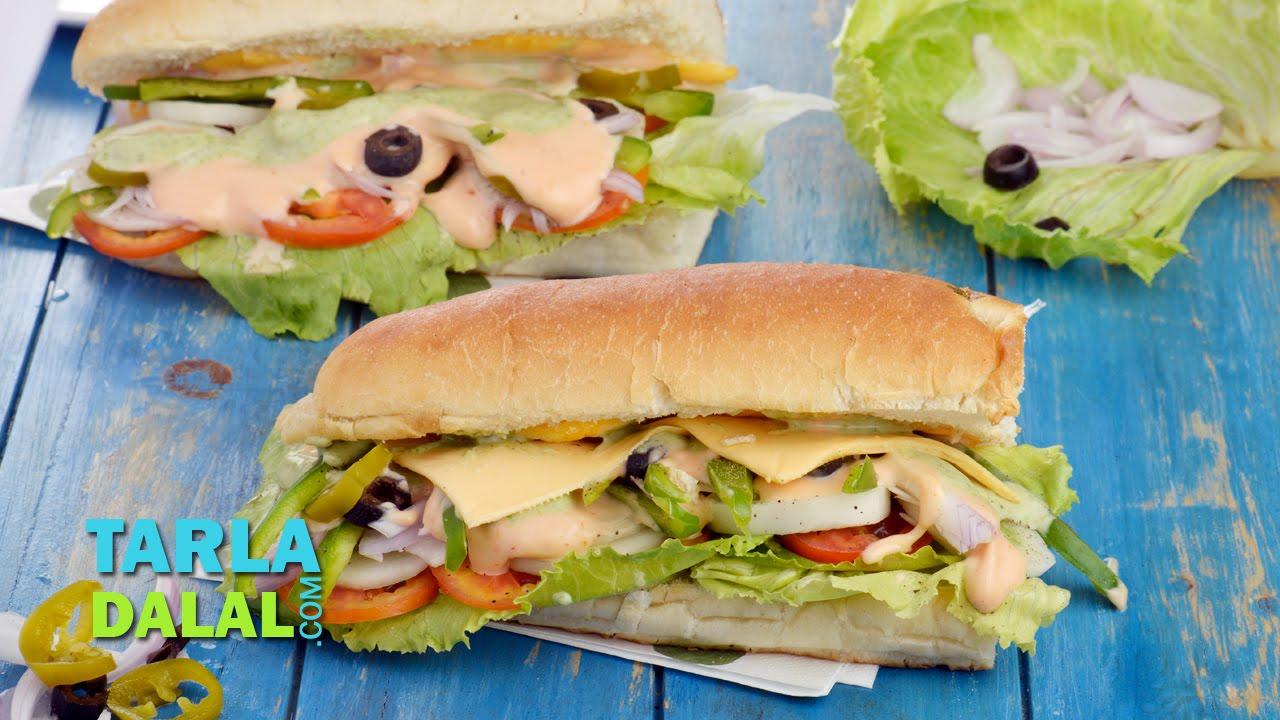 Veg Sub Sandwich Recipe by Tarla Dalal