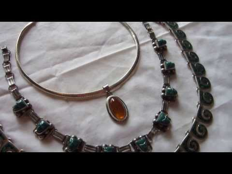 Vintage Sterling Silver Jewelry - Featuring Amber Necklace