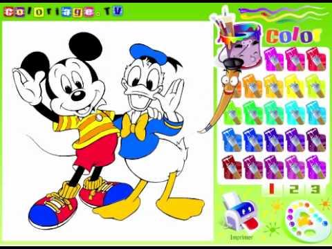 Juegos Colorear Pato Donald y Mickey Mouse  YouTube
