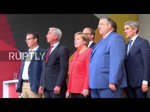 Germany: Tomatoes fly at Merkel campaign rally in Heidelberg