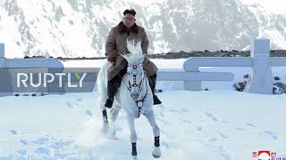 Kim Jong-un rides white stallion up sacred mountain *STILLS*