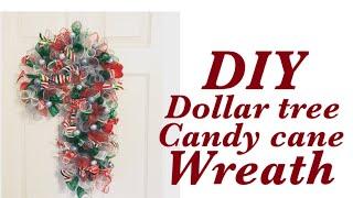 DIY Dollar Tree Candy Cane Christmas Wreath   Christmas Crafts