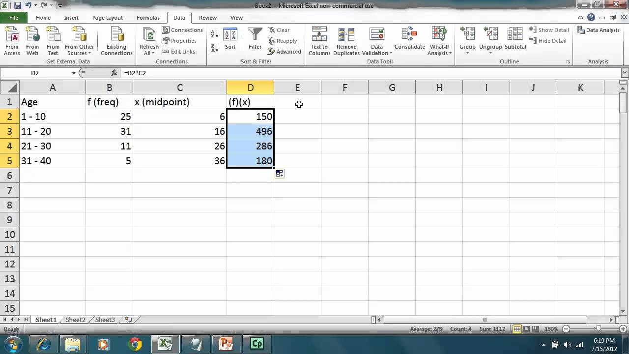 how to get the frequency in excel