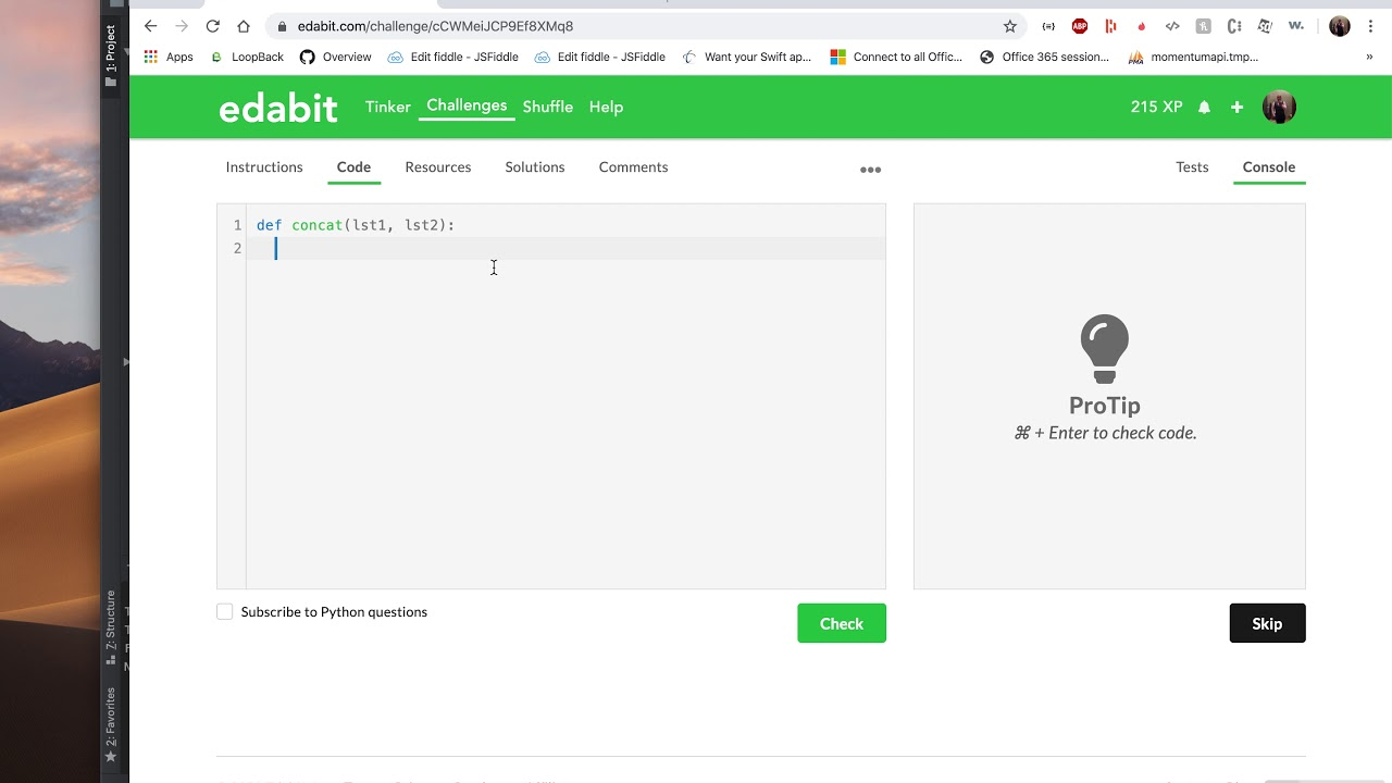 Python edabit Challenge : Concatenating Two Integer Lists - YouTube