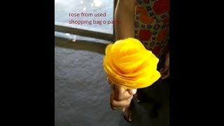 rose from love, Rose from shopping bag, new idea from used paper or shopping bag