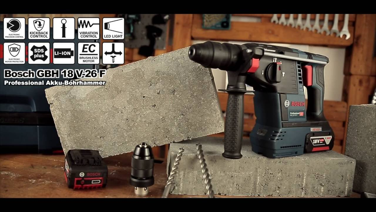 bosch gbh 18 v 26 f bohrhammer professional preview youtube