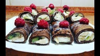 Шоколадные Блины с Фруктами и Сыром.  Вкуснятина из Самых Обычных Продуктов!