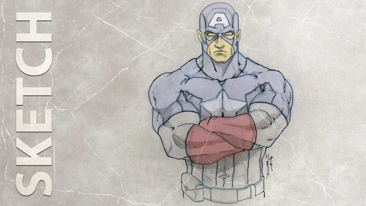 how to draw captain america hd sketch youtube