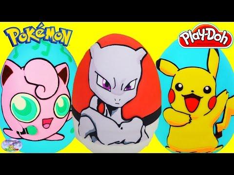 POKEMON Giant Play Doh Surprise Eggs Compilation Pikachu Mewtwo Jigglypuff Episode Toy SETC