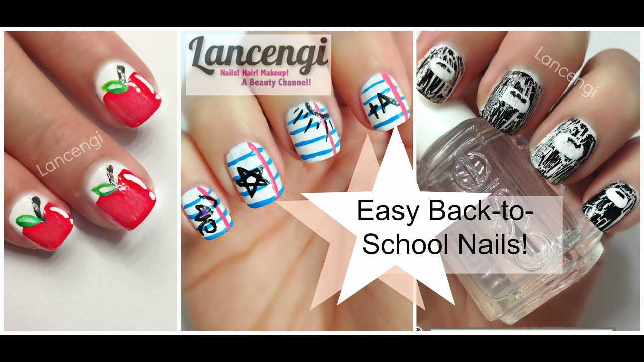 Back To School Nails!!! Three Easy Designs! - YouTube